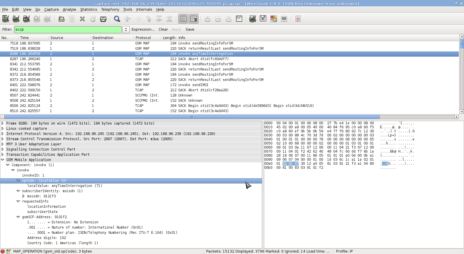 P1 Labs » SS7 traffic analysis with Wireshark